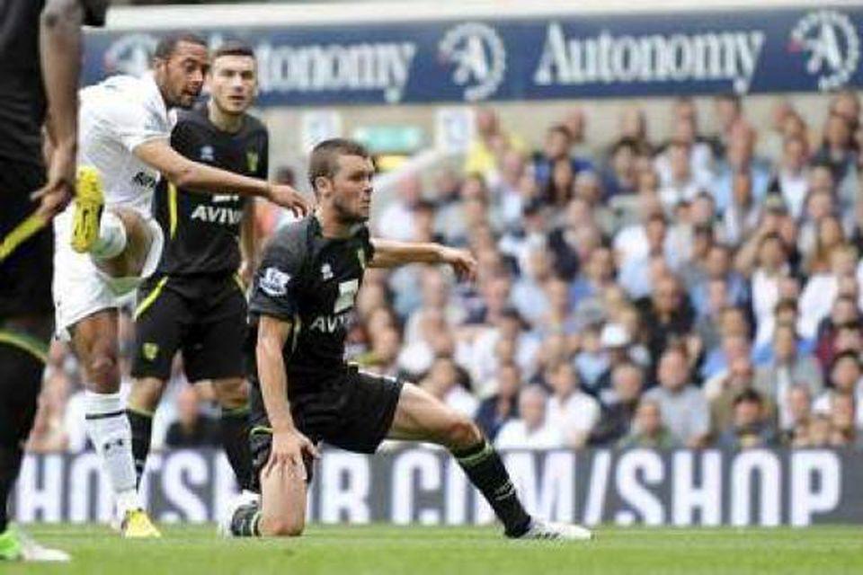 Dembélé skorar sitt fyrsta mark fyrir Tottenham.
