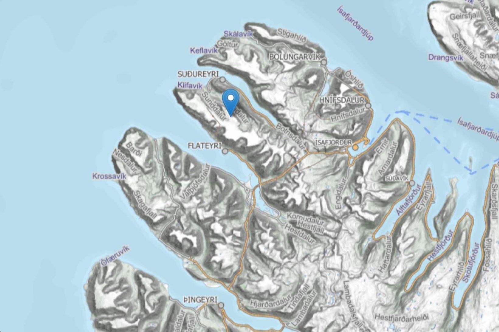 Tvö snjóflóð féllu á Flateyri á tólfta tímanum í kvöld.