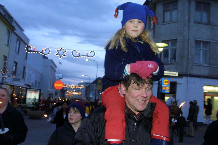 Christmas lights in central Reykjavik.