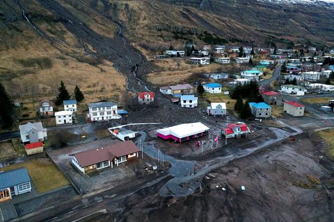 From Seyðisfjörður. The picture was taken following the landslide in December.