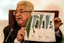 Mahmud Abbas á fundinum í Kaíró í morgun.