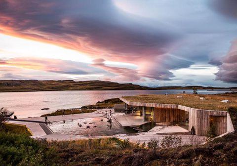 Það var fallegt um að litast við Vök baths í vikunni.