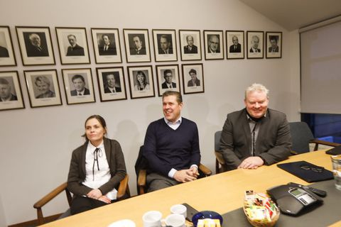 Katrín Jakobsdóttir, leader of the Left Green Movement, Bjarni Benediktsson, current Prime Minister and leader of the Independence Party and Sigurður Ingi Jóhanesson, leader of the Progressive Party.