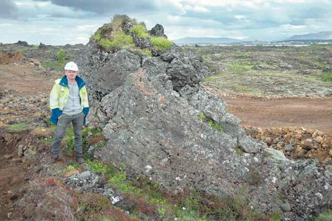The rock is possibly Ófeigskirkja, a rock mentioned in Icelandic folklore and a supposed church of the elves.