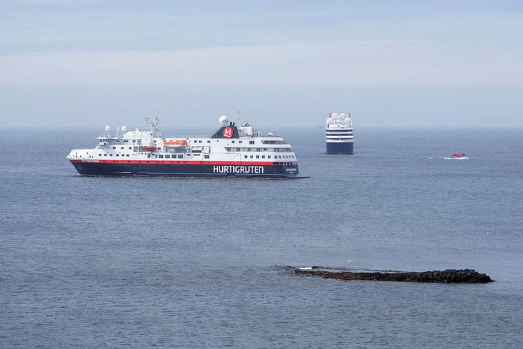 Two cruise ships visited the island on Saturday.