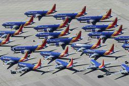 Hluti af MAX-flota Southwest í geymslu á flugvelli í Victorville í Kaliforníuríki.