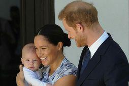 Archie með mömmu sinni og pabba, Harry og Meghan, í Suður-Afríku í lok september.