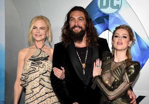 """Nicole Kidman, Jason Momoa og Amber Heard hér á frumsýningu myndarinnar """"Aquaman"""" í Los Angeles í síðustu viku."""