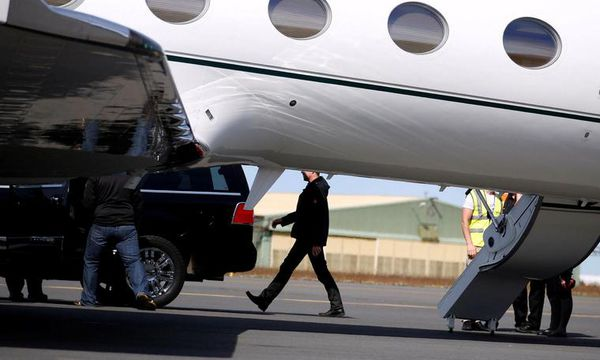 Actor Tom Cruise arriving in Iceland on his private jet.