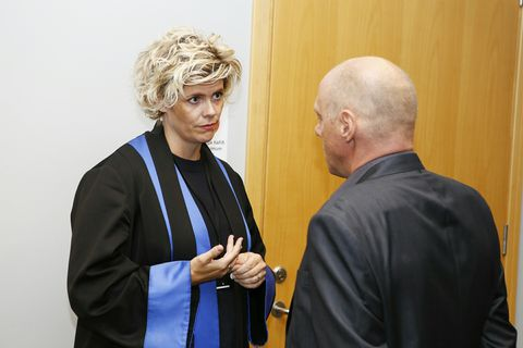 Kolbrún Benediktsdóttir, deputy district attorney, outside the courtroom today.