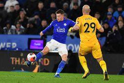 Úr leik Leicester og Aston Villa, síðasta leiknum sem fór fram áður en hlé var …