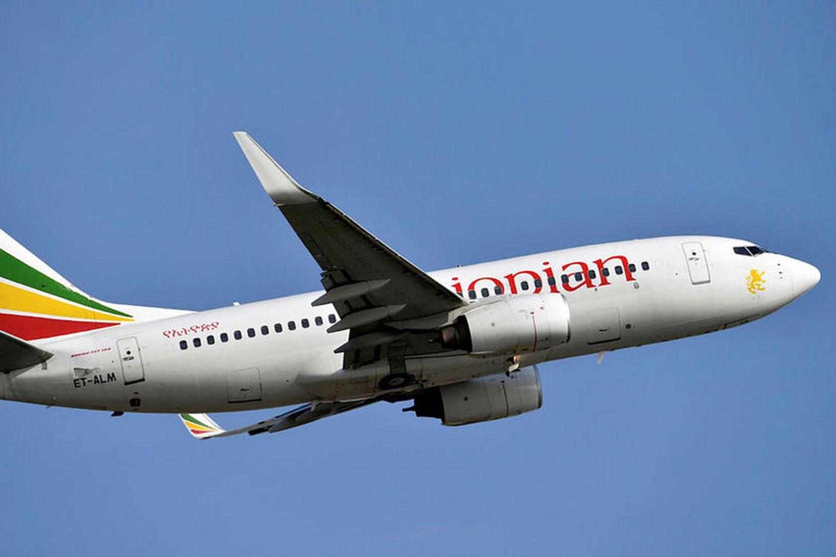 Boeing-vél í eigu Ethiopian Airlines. Vélin er ekki sömu gerðar …