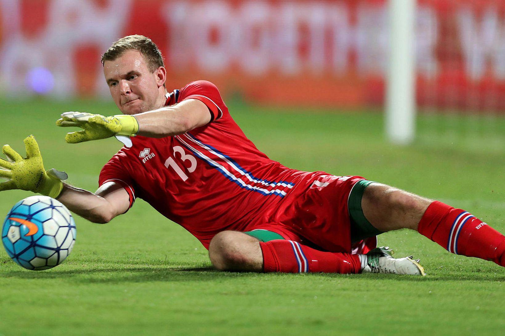 Ingvar Jónsson í landsleik gegn Katar.