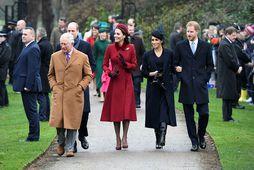 Karl Bretaprins, Katrín hertogaynja af Cambridge, Meghan hertogaynja af Sussex og Harry Bretaprins á jóladag …