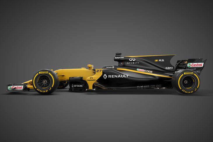 2017-bíll Renault í formúlu-1. Hákarlsugginn aftur úr kæliturninum er áberandi.