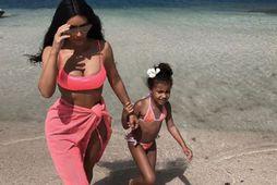 Kim Kardashian West og dóttir hennar North.