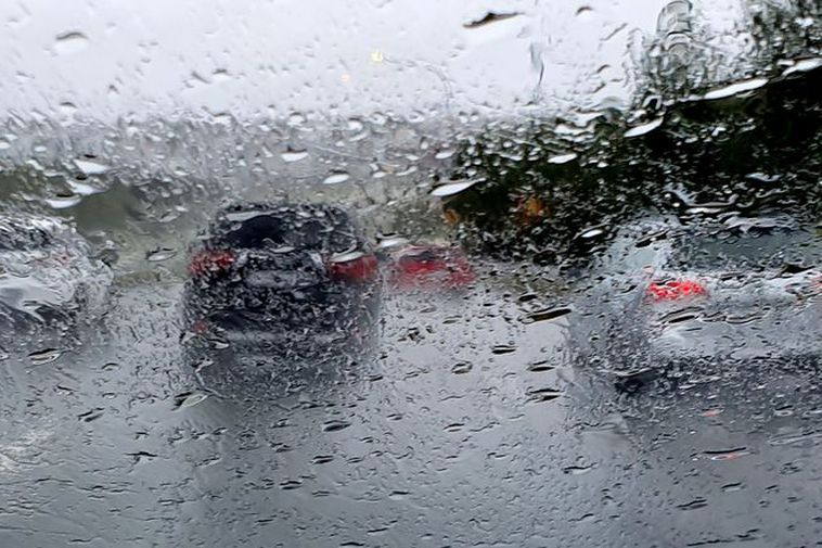 Don't forget the headlights, or else your vehicle will be invisible in the heavy rain.