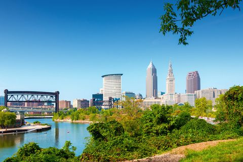 Cleveland is located next to Lake Erie.