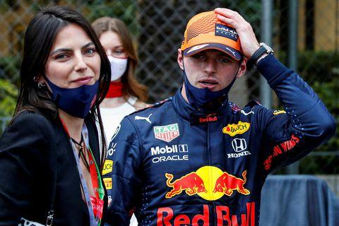 Unnusta Max Verstappen, Kelly Piquet, tók á móti honum á endamarkinu í Mónakó.