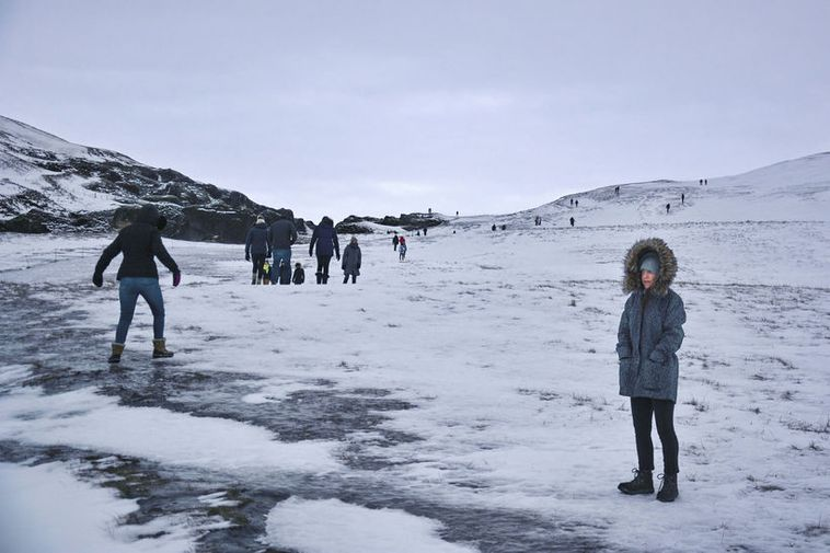 Tourists visiting Fjarðárgljúfur this January. Justin Bieber shot the video to I'll show you in ...