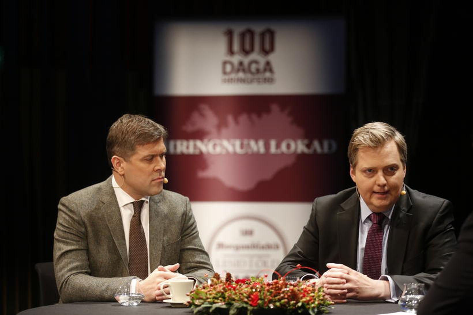 Bjarni Benediktsson, fjármálaráðherra, og Sigmundur Davíð Gunnlaugsson, forsætisráðherra.