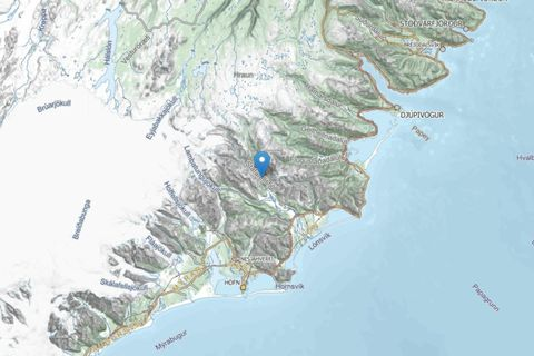 The map shows the area where the man went hiking in Southeast Iceland.