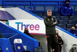 Ole Gunnar Solskjær á hliðarlínunni á Stamford Bridge í gær.
