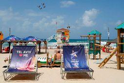 Eurovision-keppnin er fyrirferðamikil í Tel Aviv.