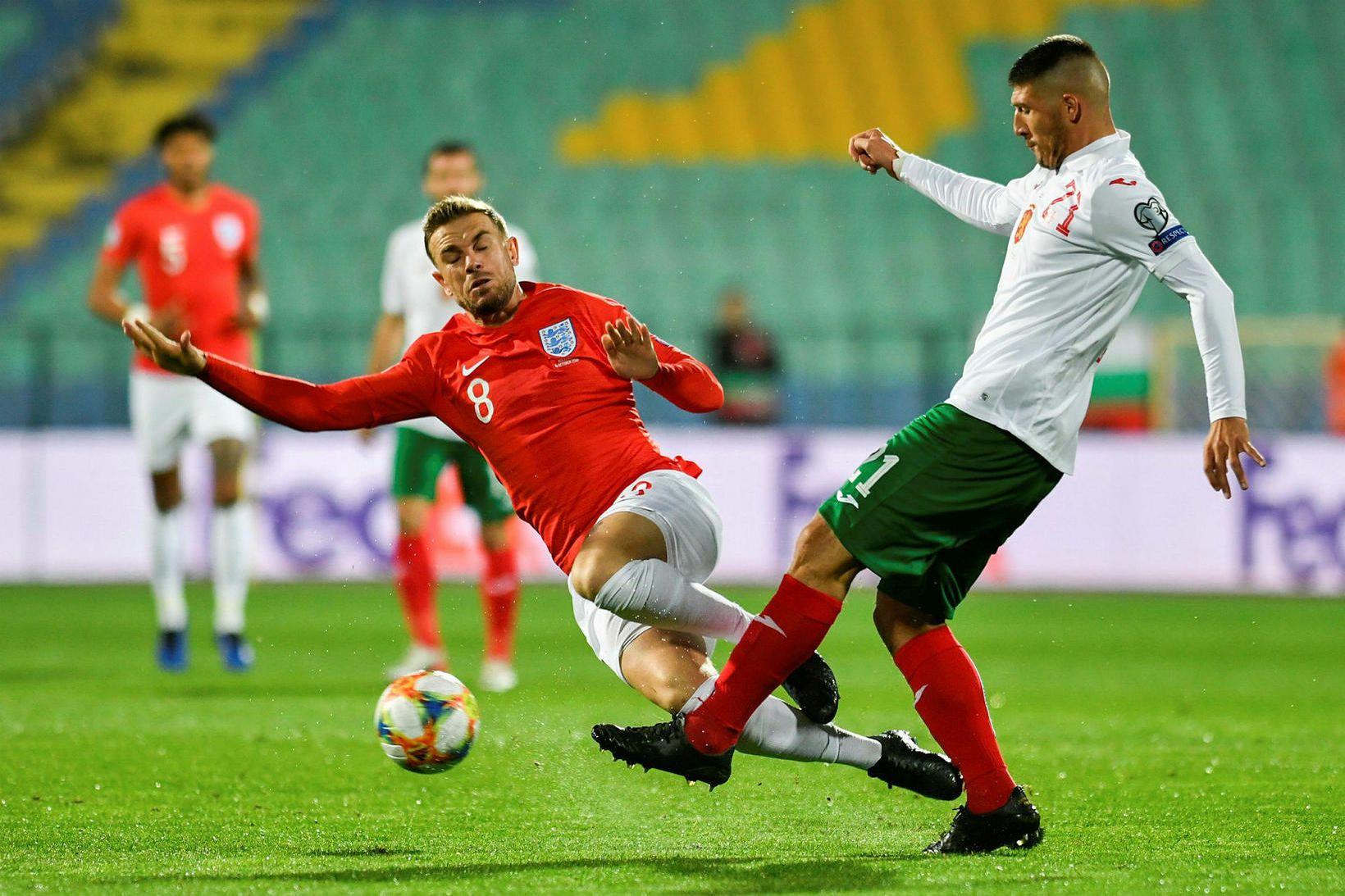 Frá viðureign Búlgaríu og Englands á dögunum.