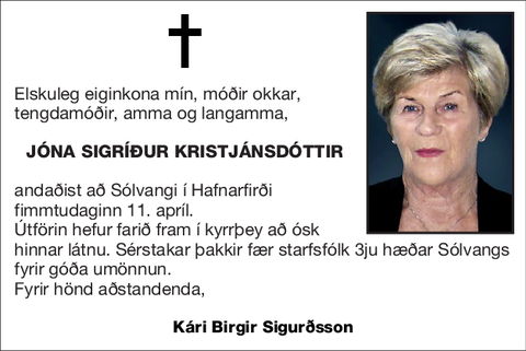 Jóna Sigríður Kristjánsdóttir