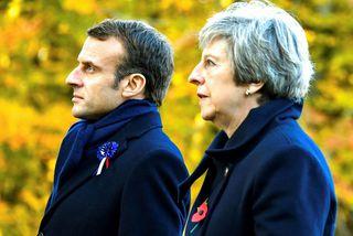 Theresa May ásamt Macron Frakklandsforseta.