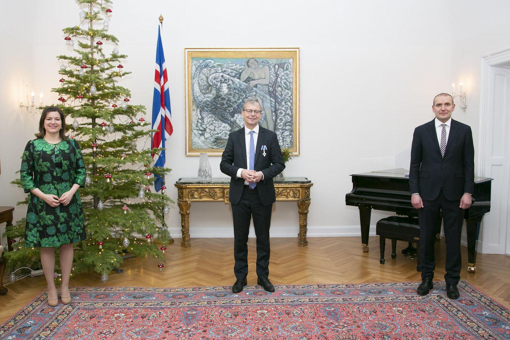Jón Atli Benediktsson ásamt forsetahjónunum á Bessastöðum.