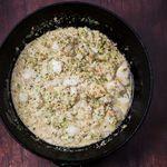 Ketó-plokkfiskpanna með smjörsteiktu grænmeti