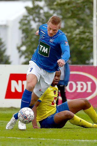 Guðjón Baldvinsson á fleygiferð í kvöld.