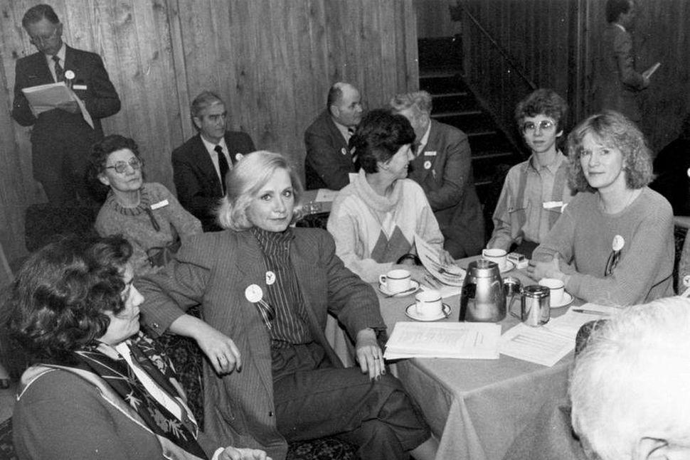 Landsfundur Sjálfstæðisflokksins árið 1983. Frá vinstri: Oddný Vilhjálmsdóttir, Bessí Jóhannsdóttir, ...