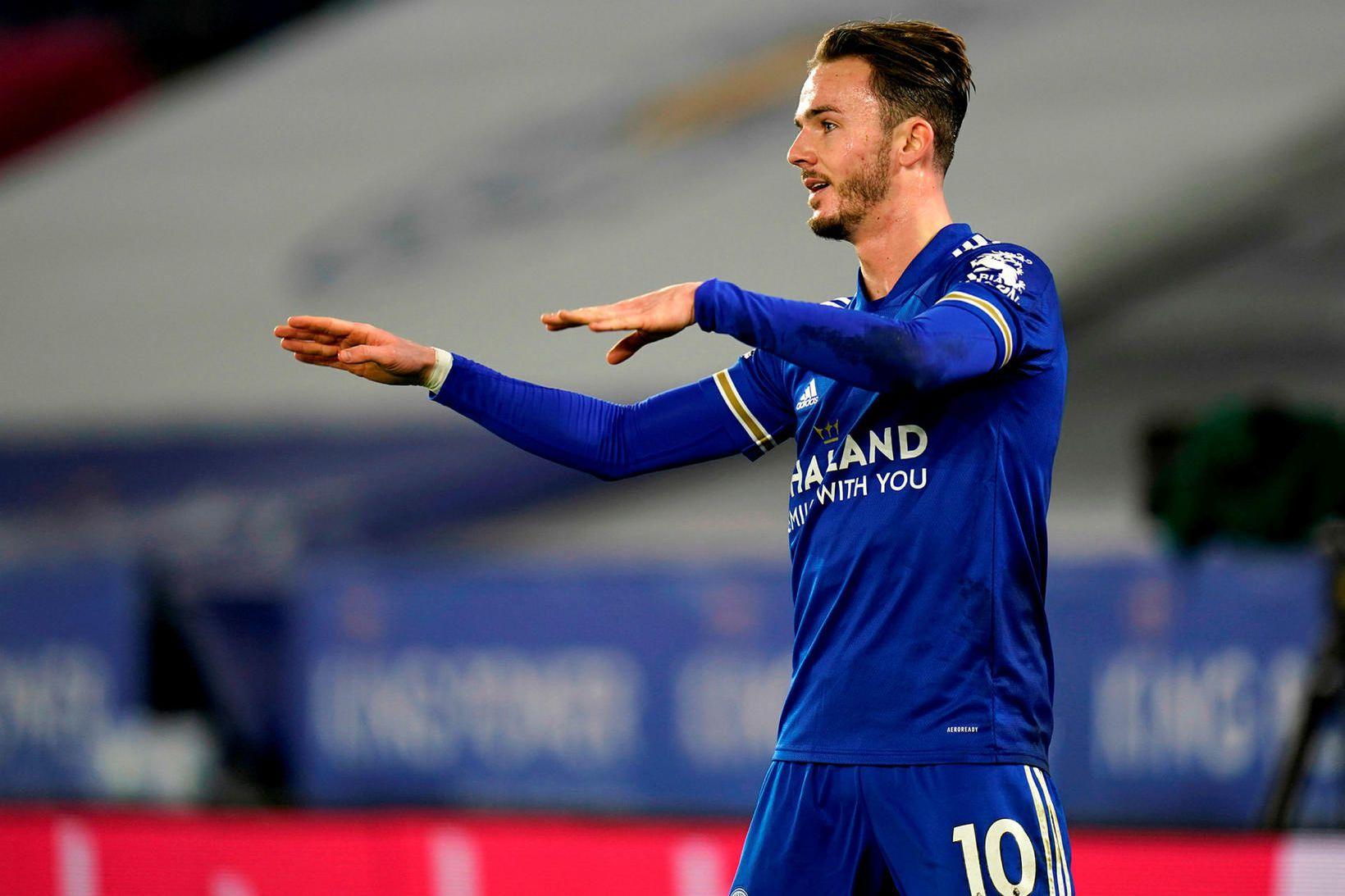 James Maddison fagnar eftir að hafa skorað fyrir Leicester í …