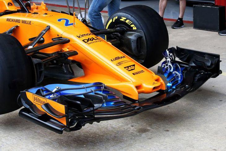 Nýja trjónan sem birtist á McLarenbílnum í Barcelona.