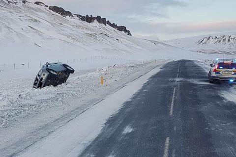 A regular occurrance in South Iceland, cars spinning off the road due to ice or snow.