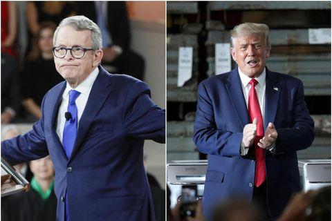 Mike DeWine, ríkisstjóri Ohio, og Donald Trump Bandaríkjaforseti. Svo fór ekki að flokksbræðurnir gátu hist …