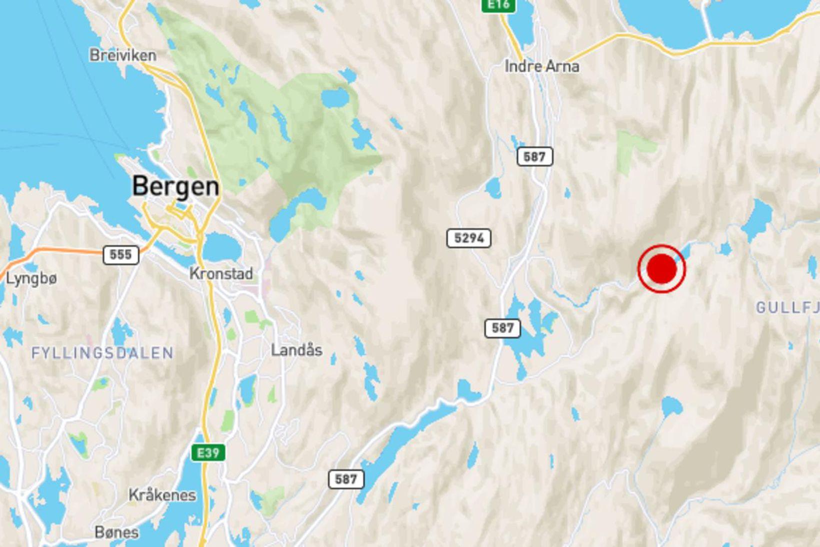 Rauði punkturinn sýnir hvar lík af karlmanni og konu fundust …