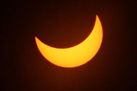 The extent of the eclipse will be close to what you see in this photo.