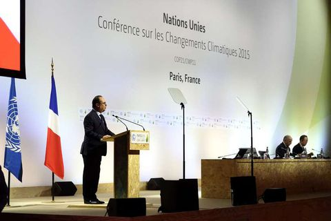 The French President delivering a speech on the first day of COP 21.