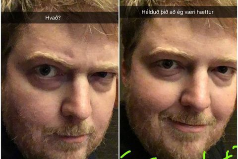 Icelandic Prime Minister Sigmundur Davíð Gunnlaugsson posted a photograph of himself on Snapchat with a new beard.