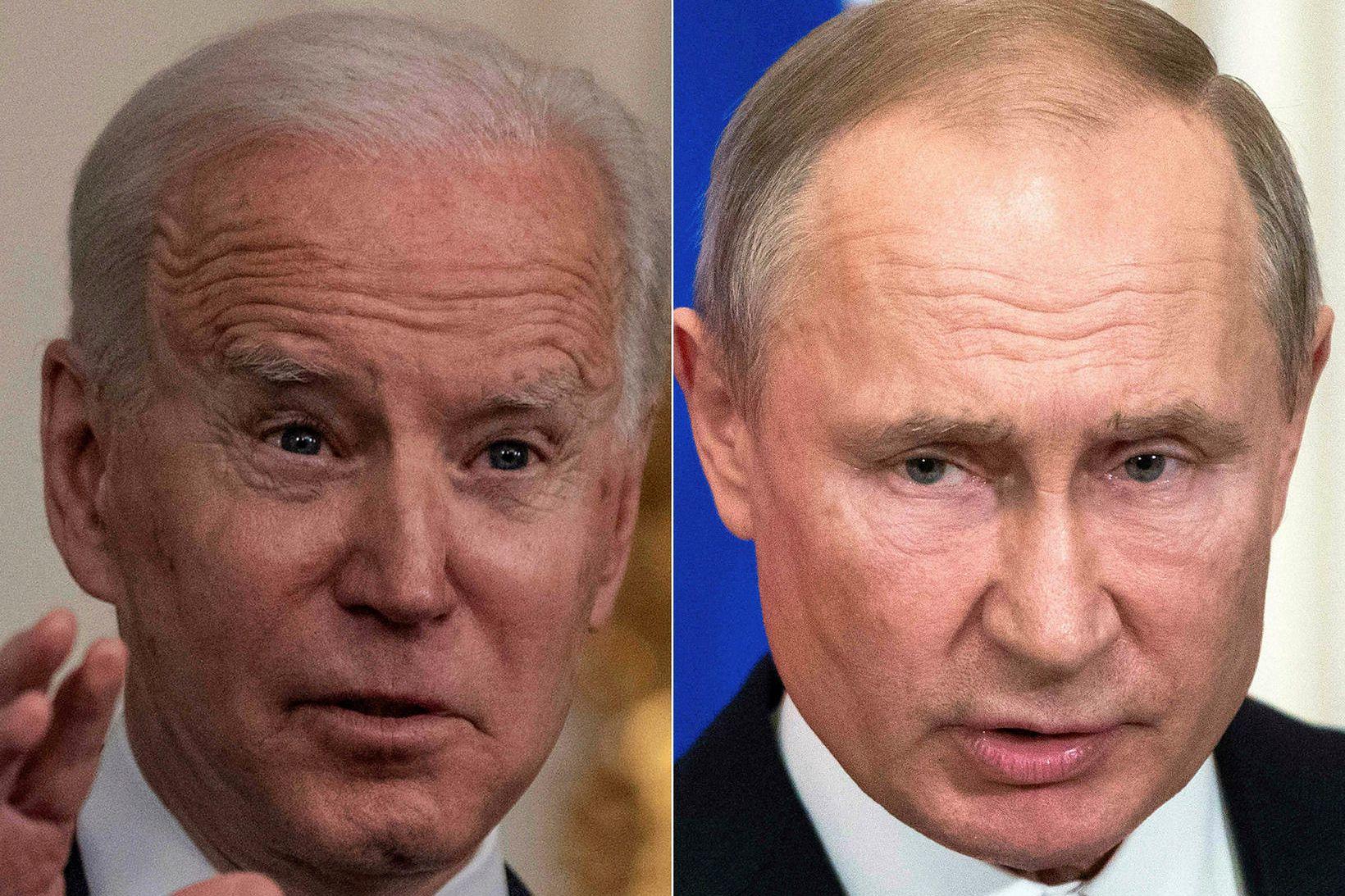 Joe Biden, forseti Bandaríkjanna (til vinstri) og Vladimír Pútín, forseti …
