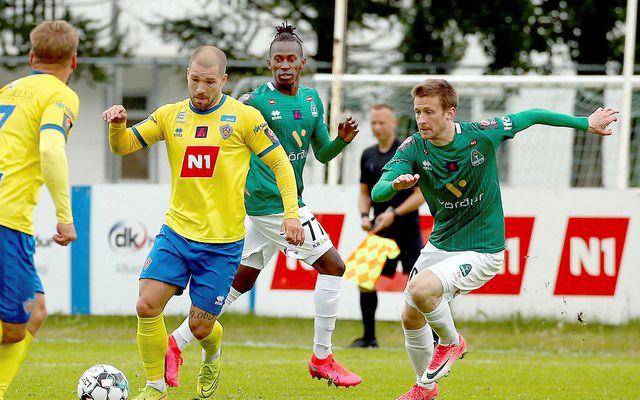 Hallgrímur Mar Steingrímsson í baráttunni á Akureyri í dag.