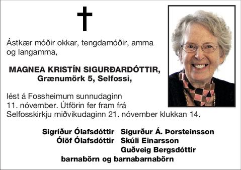 Magnea Kristín Sigurðardóttir,