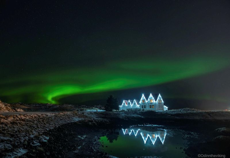 The northern lights, seen from Straumsvík, Southwest Iceland.