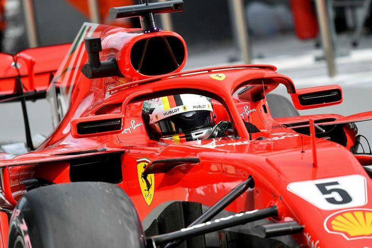 Sebastian Vettel á ferð í Sotsjí í morgun.