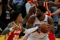Joel Embiid fór mikinn fyrir Philadelphia 76ers í nótt.