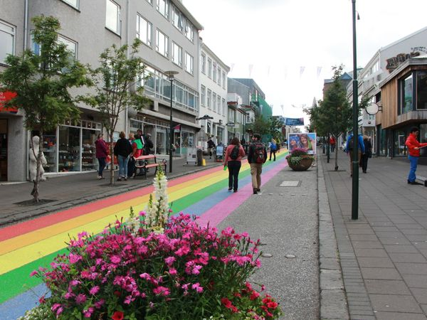 Brightly coloured streets in Reykjavik town centre.